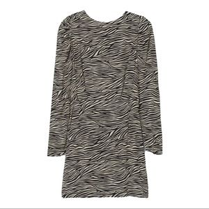 H&M Zebra Open Back Mini Crepe Long Sleeve Dress